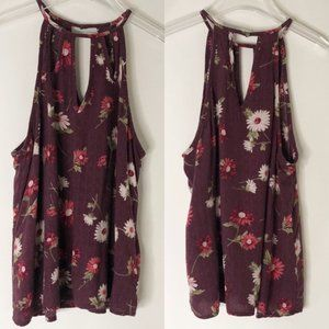 AE American Eagle Keyhole Floral High Neck Tank